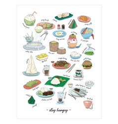 asian malaysia and singapore daily local food vector image