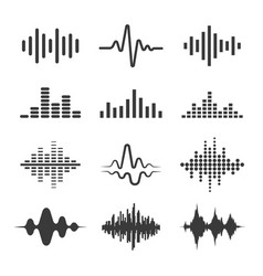 audio music waves icon set vector image