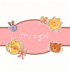 Baby born sweet girl congratulation postcard vector image