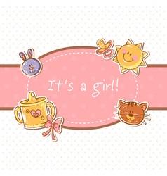Baby born sweet girl congratulation postcard vector