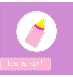 Baby girl bottle Shower card vector image