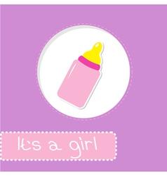 Baby girl bottle shower card vector