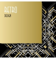Background with golden silver black art deco vector