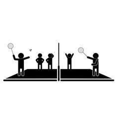 Badminton game scene on court player vector