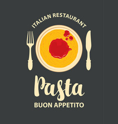 banner or pasta menu for an italian vector image
