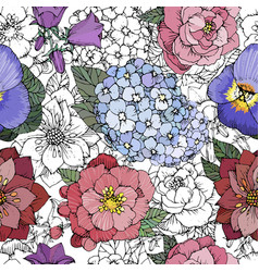 Beautiful seamless floral pattern with various vector
