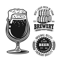 beer glass and two brewery emblems badges labels vector image