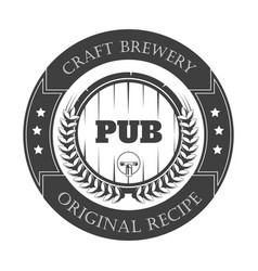 beer pub isolated icon craft brewery wooden vector image