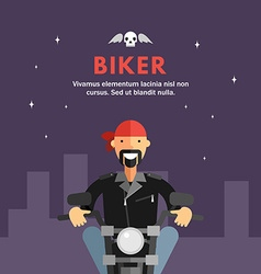 Biker Riding Motorcycle Through the City Streets vector