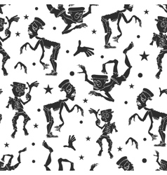 Black and white dancing zombies seamless vector