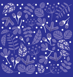 blue monochrome pattern flowers and leaves vector image