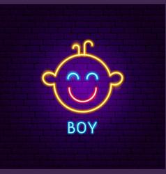 boy neon label vector image