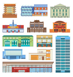 building facade of cityscape with skyscrapers vector image