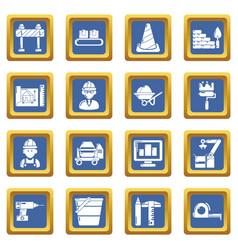 building process icons set blue square vector image