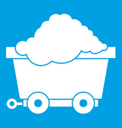 Cart on wheels with coal icon white vector