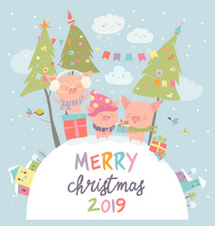 cartoon funny pigs with gifts christmas card vector image