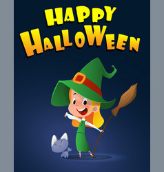 cartoon kid in halloween costume with little cat vector image