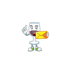 Cheerfully red glass wine mascot with envelope vector