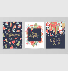 christmas and new year gift tags and cards hand vector image