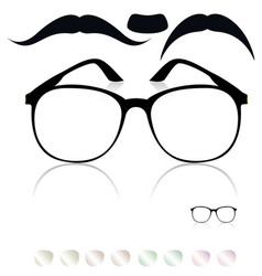 classic glasses mustache set of colored lenses vector image