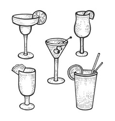 cocktail glasses set sketch engraving vector image