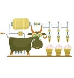 Comic milk farm and cow vector
