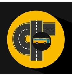 Connectible road bus transport public vector