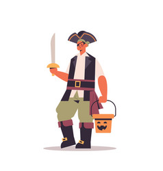 cute guy in pirate costume holding sword and vector image