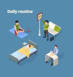 Daily routine day activities wake up breakfast vector