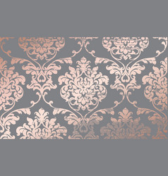 damask pink gold ornament pattern baroque luxury vector image