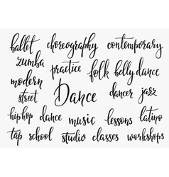 Dance studio inspiration typography set vector image