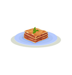 delicious lasagna with green basil leaves on top vector image