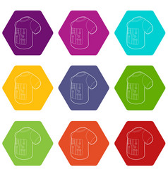 Electronic t-shirt icons set 9 vector