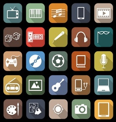 Entertainment flat icons with long shadow vector image