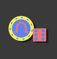 Flat icon design collection dice and lucky chip vector