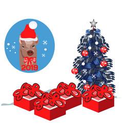 flat merry christmas cute pig vector image