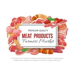 Gastronomic meat products banner menu design vector