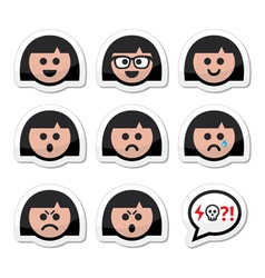 Girl or woman faces avatar icons set vector image