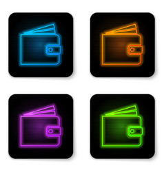glowing neon wallet icon isolated on white vector image
