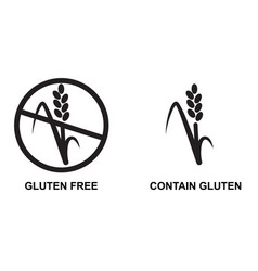Gluten free or contain wheat food icon set of vector