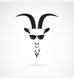 goat head wearing sunglasses on white background vector image