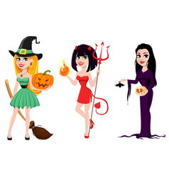 Halloween set of three girls for holiday witches vector