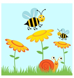 Happy bees and snail vector