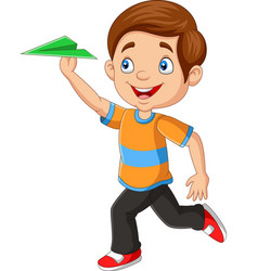 happy boy playing paper airplane vector image