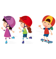 Happy children rollerskates and skateboard vector