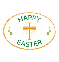 Happy easter day stamp style with cross vector
