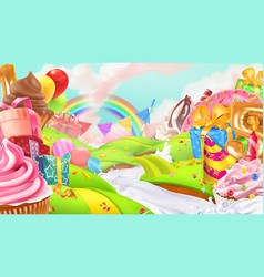 happy holiday cupcake gift box sweet landscape 3d vector image
