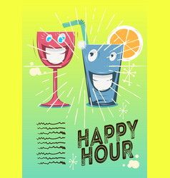 Happy hour poster design with funny characters of vector