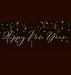 happy new year background with gold streamer and vector image