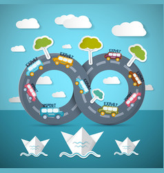 Infinity Road with Cars Ocean Bats Clouds and vector image vector image